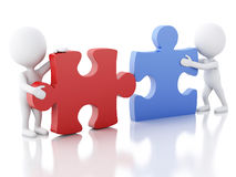 3d white people work  team assemble piece of a puzzle. 3d image. White people work together with puzzle piece. Team concept.  white background Royalty Free Stock Photos