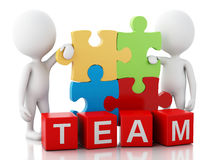 3d white people work together. Team concept. 3d image. White people work together with puzzle piece. Team concept.  white background Royalty Free Stock Photos