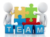 3d white people work together. Team concept. 3d image. White people work together with puzzle piece. Team concept.  white background Stock Photos