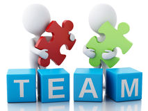 3d white people work together. Team concept. 3d image. White people work together with puzzle piece. Team concept.  white background Royalty Free Stock Photo