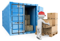 3D white people. Worker unloading a container Stock Image