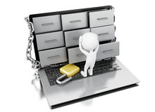 3d White people worried about file cabinets security. Stock Photos