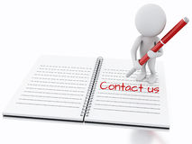 3d white people writing Contact us on notebook page. Stock Image