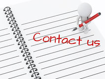 3d white people writing Contact us on notebook page. Royalty Free Stock Images