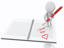 3d white people writing i love you on notebook page. Royalty Free Stock Photo