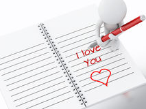 3d white people writing i love you on notebook page. Stock Image