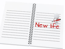 3d white people writing new life on notebook page. Royalty Free Stock Photos