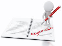 3d white people writing registration on notebook page. Stock Images