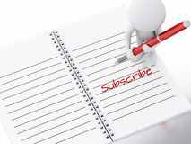 3d white people writing subscribe on notebook page. Royalty Free Stock Photos