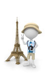 3D white peoples - selfie the Eiffel Tower Royalty Free Stock Image
