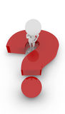 3D white peoples - thinking question mark. 3D white peoples standing on the question mark. isolated white background. 3d image Stock Images
