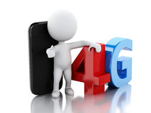 3d White peple with smart phone and 4G sign. Technology concept Stock Photography