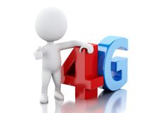 3d White peple with smart phone and 4G sign. Technology concept Royalty Free Stock Photos