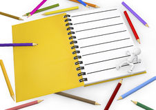 3d white person with blank spiral notepad and a pencil colors. Stock Photo