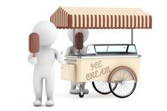 3d White Person with Ice Cream near Ice Cream Cart Stock Image
