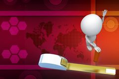 3d white person with a measuring tape illustration Royalty Free Stock Images