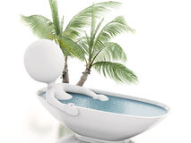 3d white person relaxing in a bath. 3d illustration. White person relaxing in a bath. Isolated white background Royalty Free Stock Photo