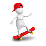 3d white person ride on skate with cap Stock Photos
