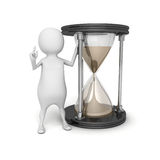 3d white person with sand hourglass Royalty Free Stock Photo