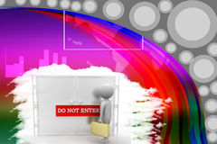 3d white person standing in front of a closed door with Do not enter text Stock Photos
