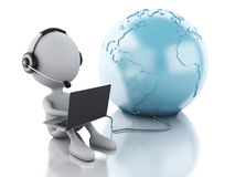3d white person working on a laptop with headphones and earth gl. 3d illustration. White person working on a laptop with headphones and earth globe,  white Royalty Free Stock Photography