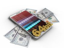 3d white phone. 3d illustration of white phone over white background with banknotes and 64 bit sign Stock Images