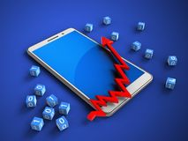3d white phone. 3d illustration of white phone over blue background with binary cubes and arrow chart Royalty Free Stock Photography
