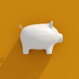 3d White Piggy Bank Icon Stock Images