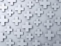 3d white plus signs abstract background Stock Image