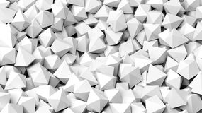 3D white polyhedrons pile abstract Stock Photos