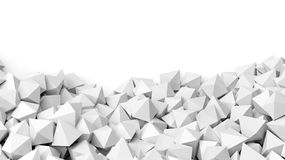 3D white polyhedrons pile Stock Images