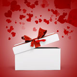 3d white present box and big bow. 3d white present box and big red bow Royalty Free Stock Image