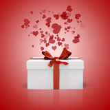 3d white present box and red bow Stock Image