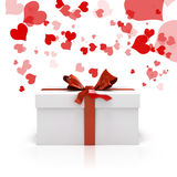 3d white present box and red bow. 3d white present box and big red bow Royalty Free Stock Photos