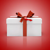 3d white present box and red bow Stock Images
