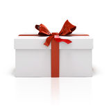 3d white present box and red bow Stock Photo