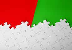 3D white puzzles with missing pieces on red and green background royalty free illustration