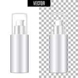 3d white realistic cosmetic package icon empty tubes on transparent background vector illustration. Realistic white. Plastic bottle for cream liquid soap with a Royalty Free Stock Images