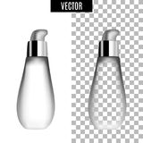 3d white realistic cosmetic package icon empty tubes on transparent background vector illustration. Realistic white. Plastic bottle for cream liquid soap with a Stock Images