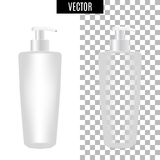 3d white realistic cosmetic package icon empty tubes on transparent background vector illustration. Realistic white. Plastic bottle for cream liquid soap with a Royalty Free Stock Photos