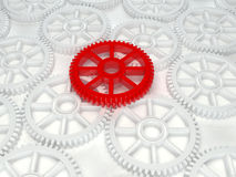3d white red cog icon. On white background Royalty Free Stock Photo