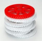 3d white red cog icon. On white background Stock Photos