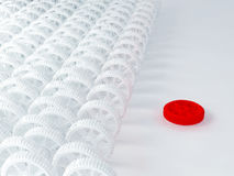 3d white red cog icon. On white background Stock Photo