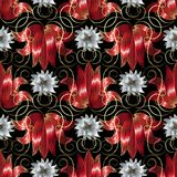3d white and red flowers seamless pattern. Vector floral black b Royalty Free Stock Image
