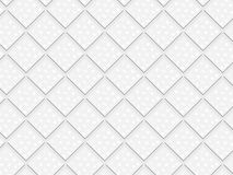 3D white rhombuses and squares in seamless pattern. 3D decorated white and light grey rhombuses in a repeating pattern. futuristic geometric monochromatic design Stock Photography