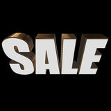 3d white sale word. Sale word on black background. 3D render Stock Photo