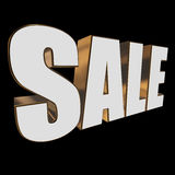 3d white sale word. Sale word on black background. 3D render Stock Photography