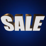 3d white sale word. Sale word on blue background. 3D render Royalty Free Stock Photo