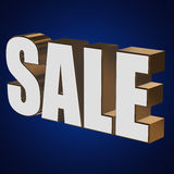 3d white sale word. Sale word on blue background. 3D render Stock Images