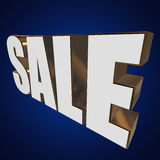 3d white sale word. Sale word on blue background. 3D render Royalty Free Stock Photos